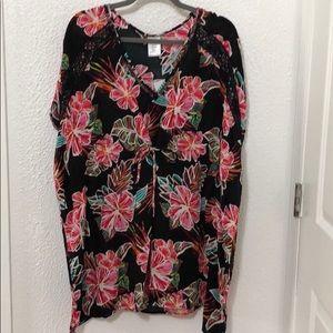 Black Floral Dress Swimsuit Coverup